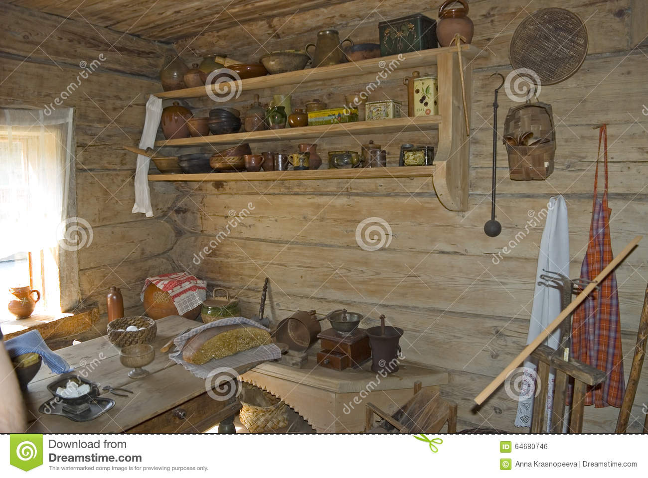 Interior of an old russian country house stock photo - Vieille maison de campagne ...