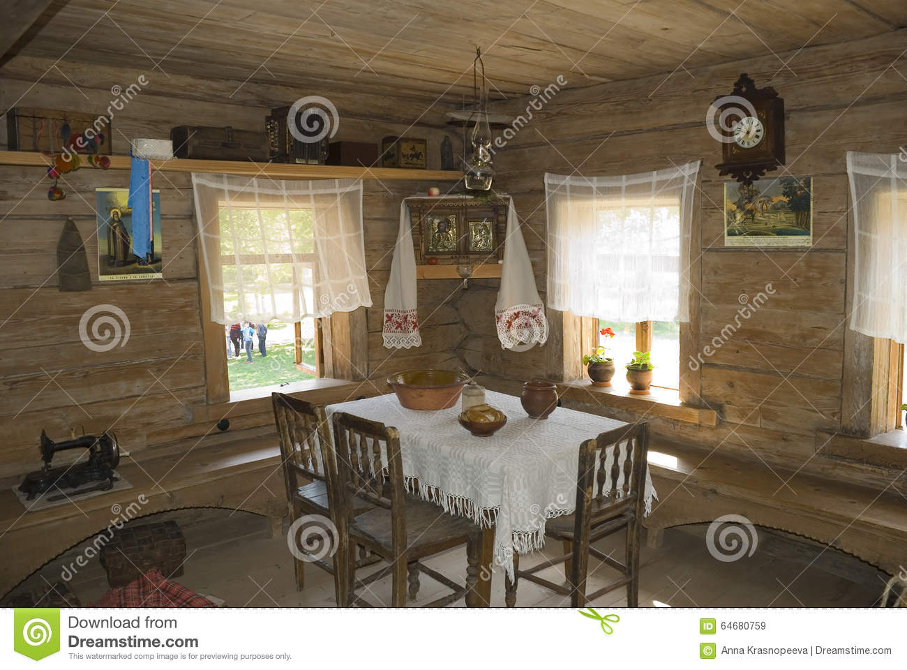 Interior of an old russian country house stock illustration image 64680759 - Interior plan de campagne ...