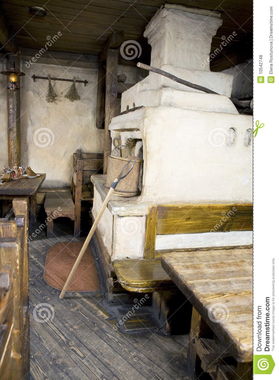Interior Of Old Russian Home With Traditional Oven Royalty