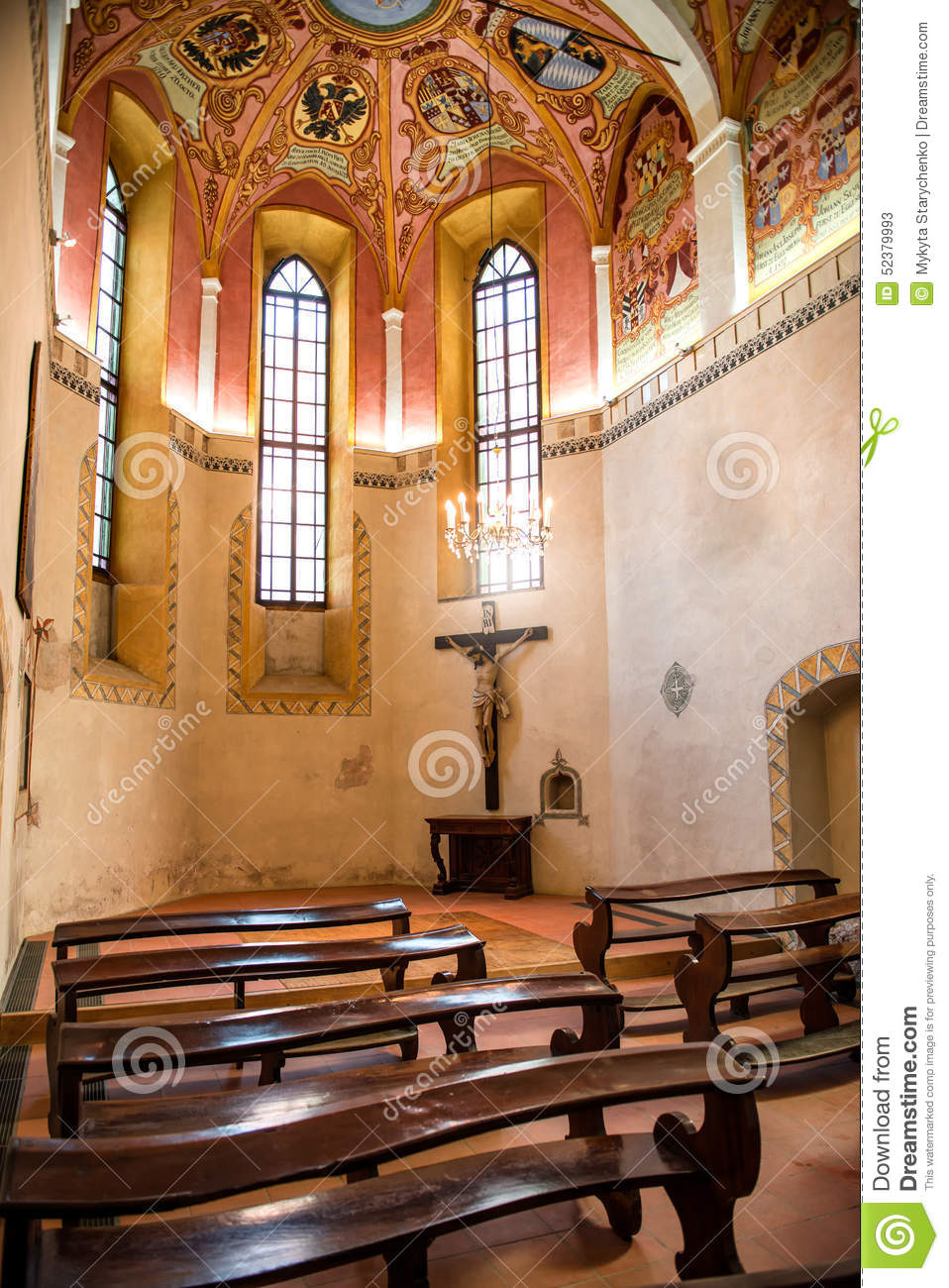 Interior Of Old Small Catholic Church Stock Photo Image