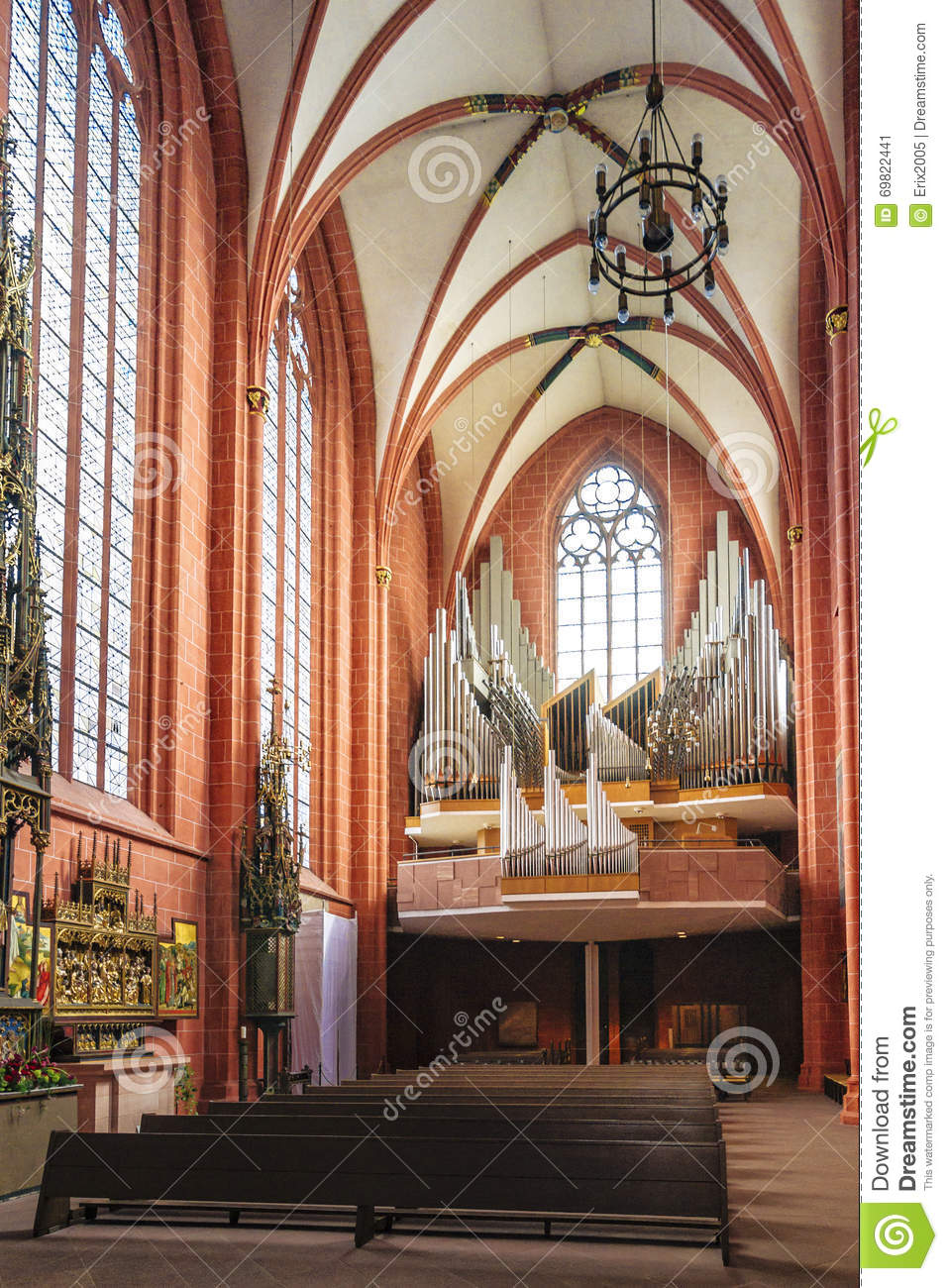 interior of old st nicholas church in frankfurt in germany. Black Bedroom Furniture Sets. Home Design Ideas