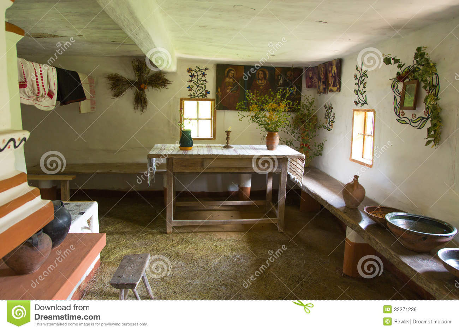 Interior Of Old Ukrainian Rural Home Royalty Free Stock