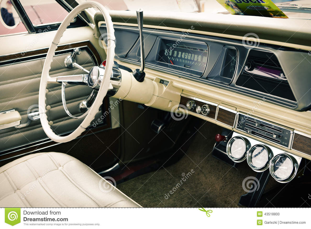 interior of old vintage car closeup stock photo image 43518800. Black Bedroom Furniture Sets. Home Design Ideas