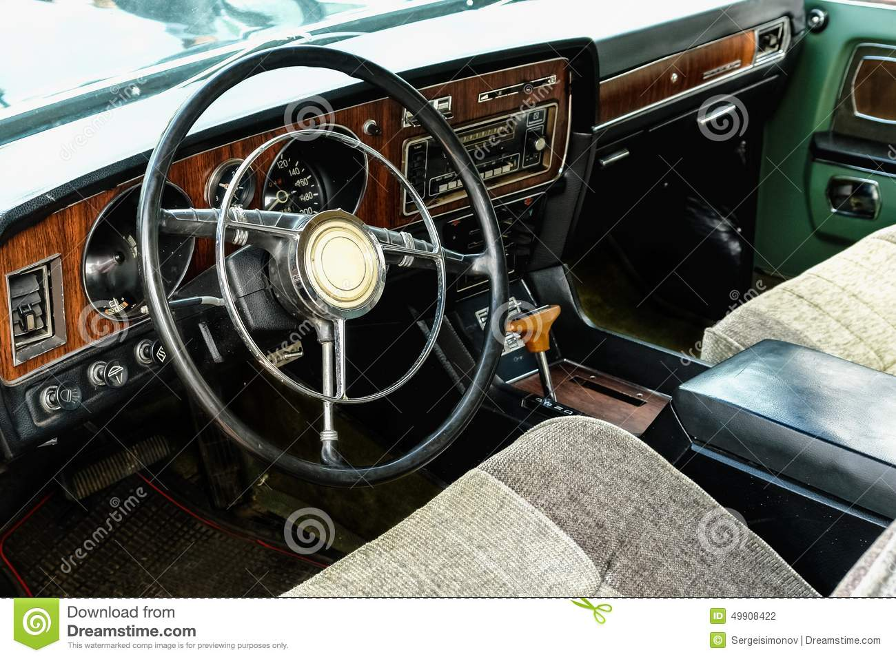 interior of old vintage car stock photo image 49908422. Black Bedroom Furniture Sets. Home Design Ideas