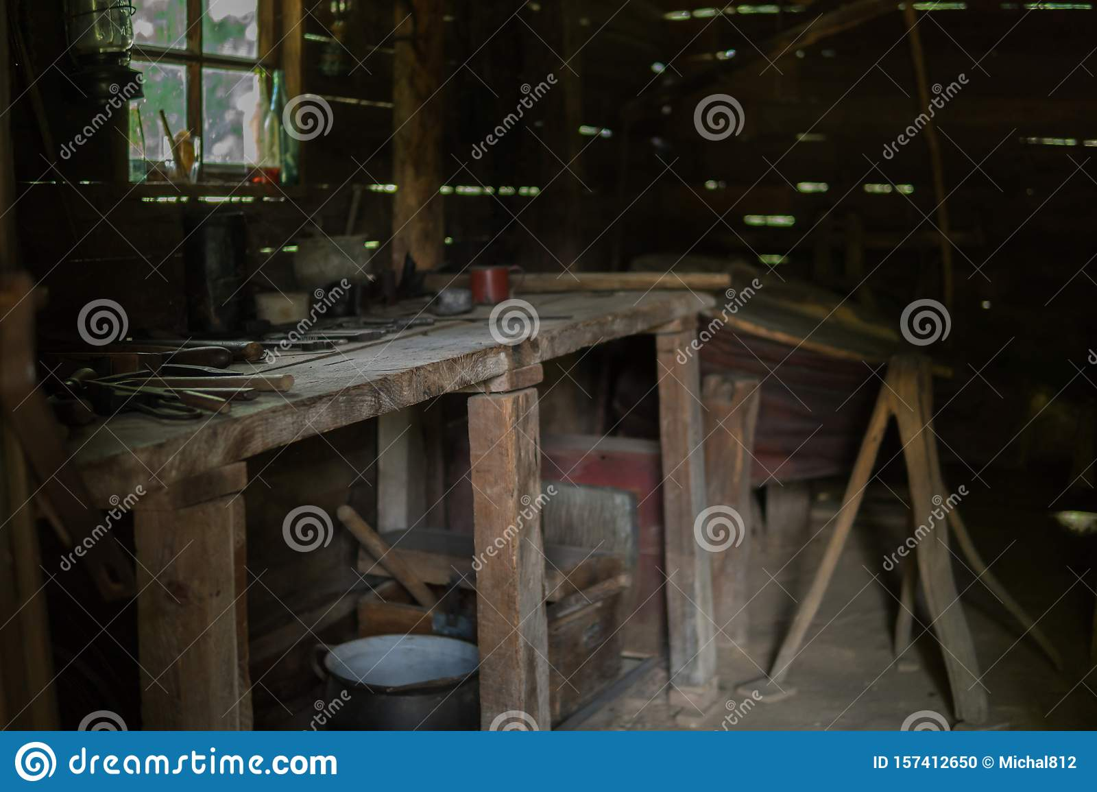 Interior Of Old Workshop Stock Photo Image Of Blurred 157412650