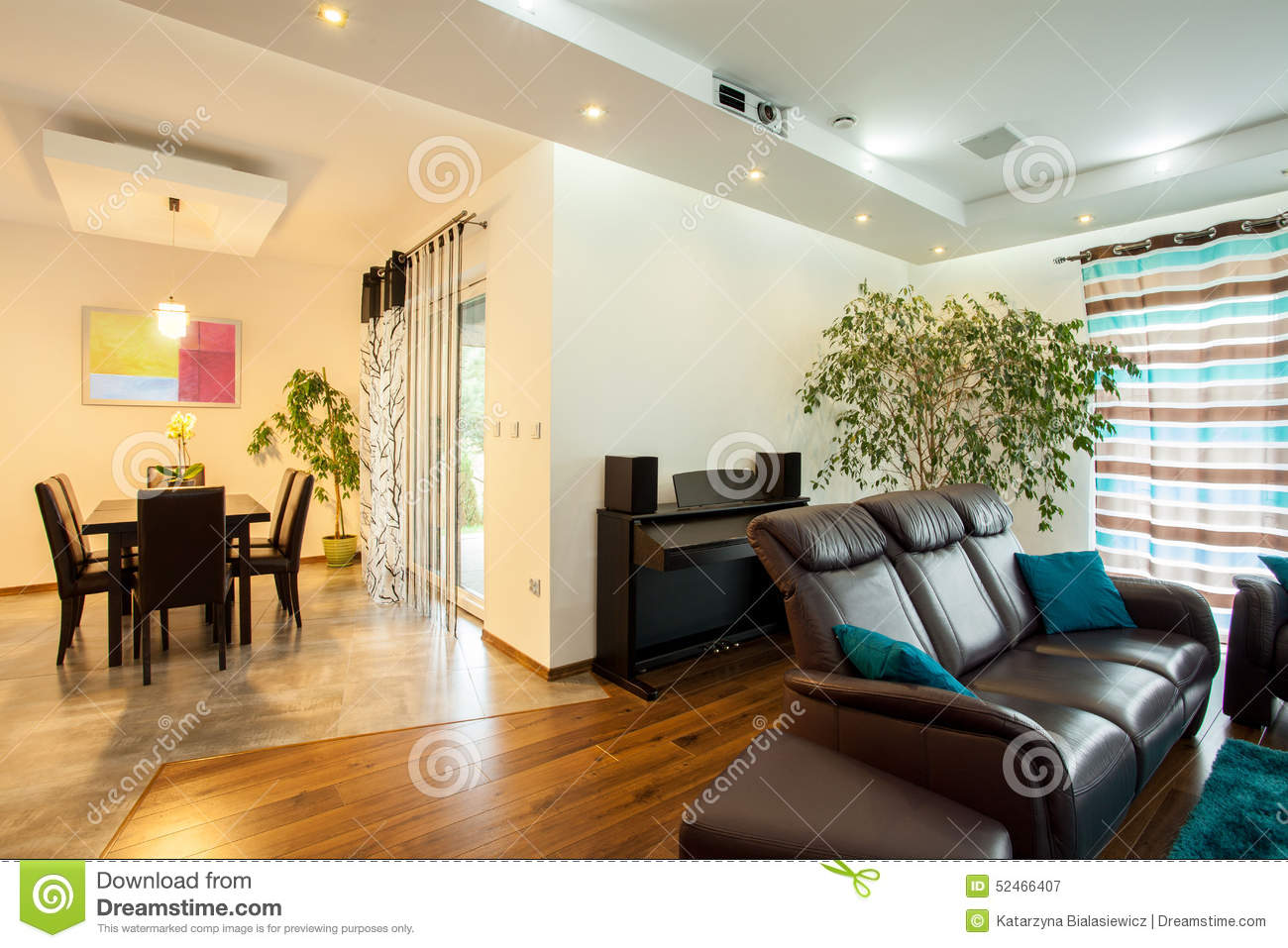 Interior of open space in house stock photo image 52466407 for Open space inside a building