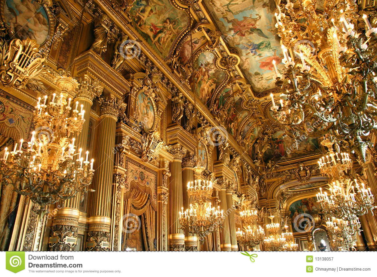 Interior of opera garnier in paris stock image image for Interieur france