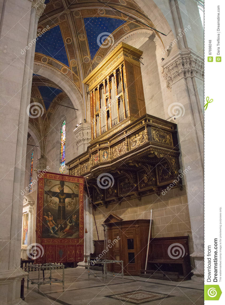 Interior Organ Of Lucca Cathedral Cattedrale Di San Martino Tuscany Italy Editorial Stock Photo Image Of Medieval Fragment 87698248