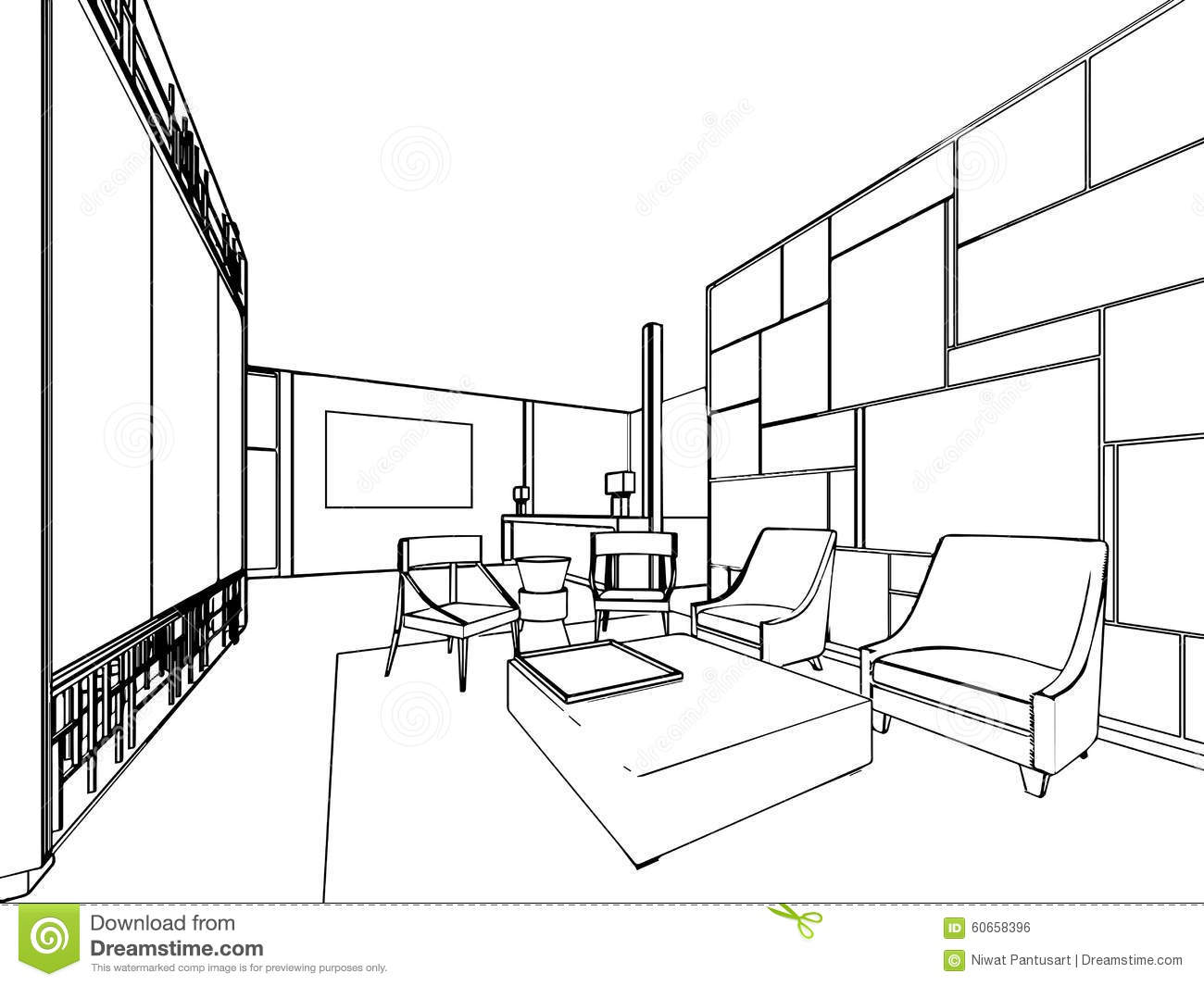 interior outline drawing sketch stock vector image 60658396