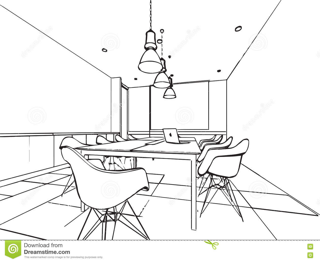 Interior outline sketch drawing perspective of a space for Bureau dessin