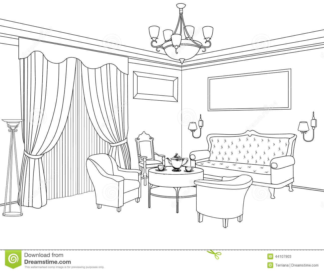 Interior outline sketch furniture architectural design for Decor outline