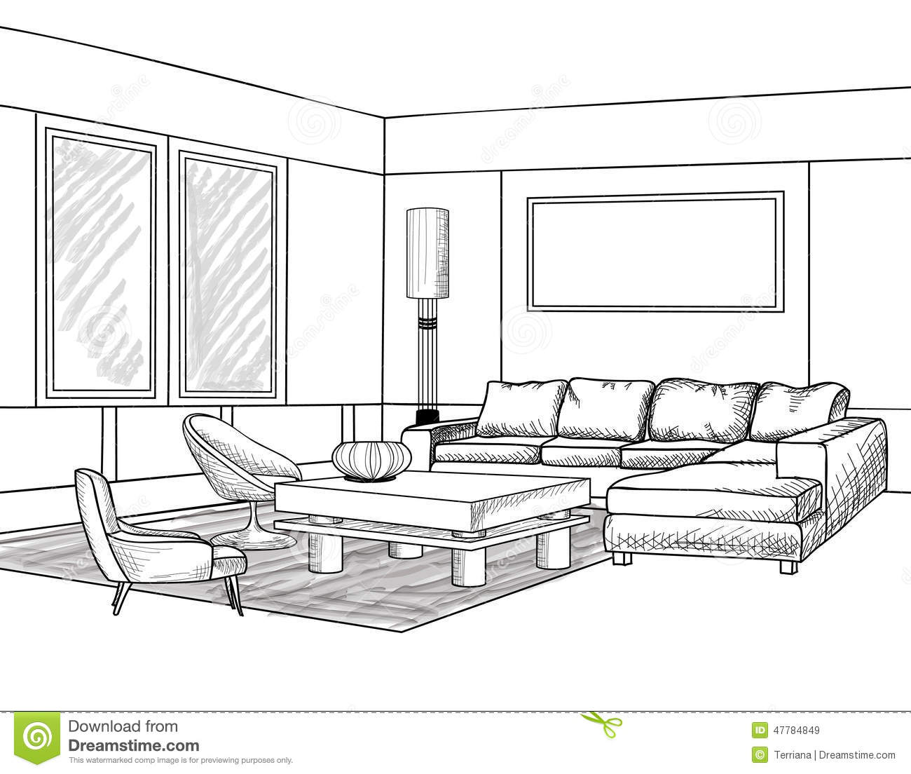 Oriental Bedroom Interior Outline Sketch Furniture Blueprint Stock