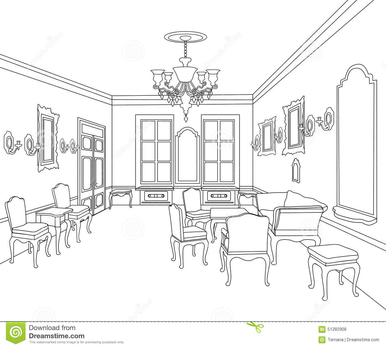 Interior Outline Sketch Furniture Room Blueprint Architectural Set