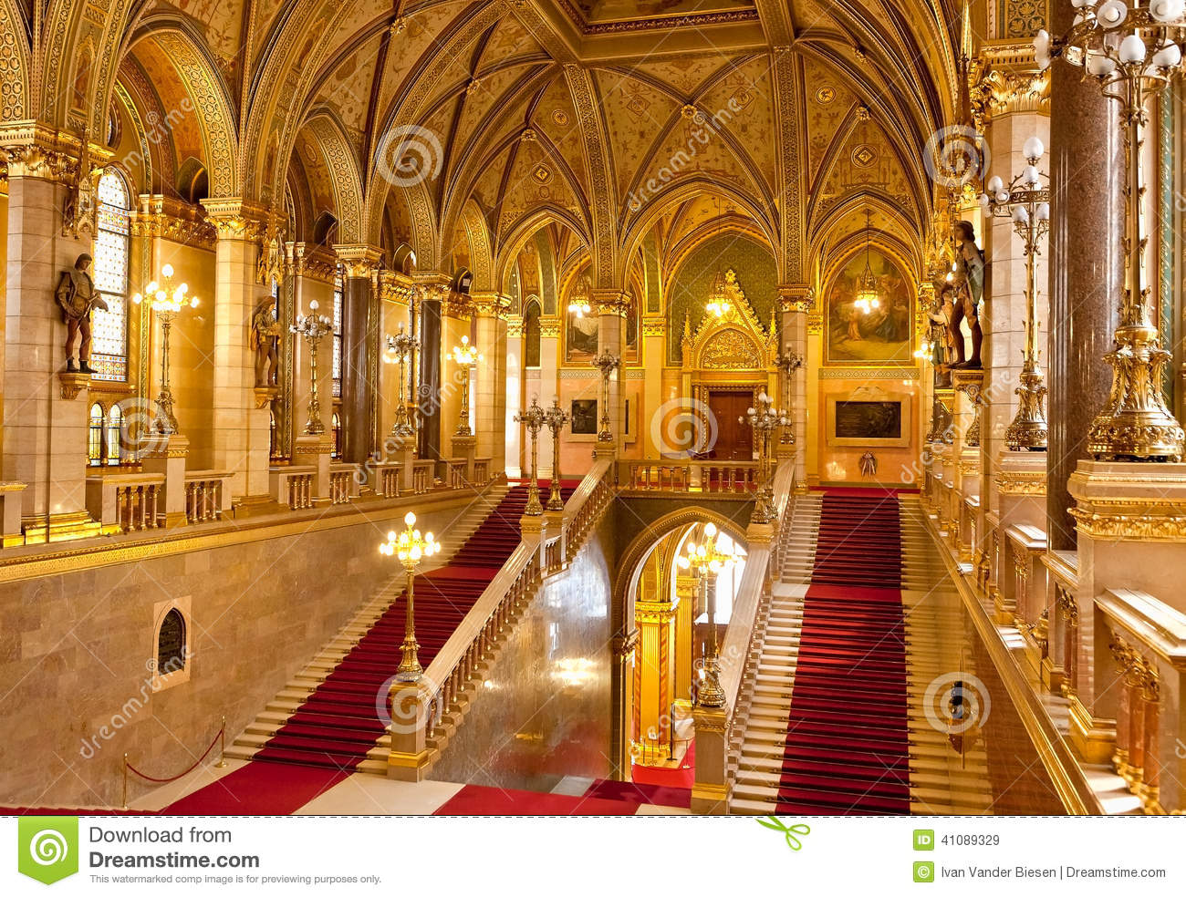 Interior Parliament Budapest Stock Photo Image 41089329