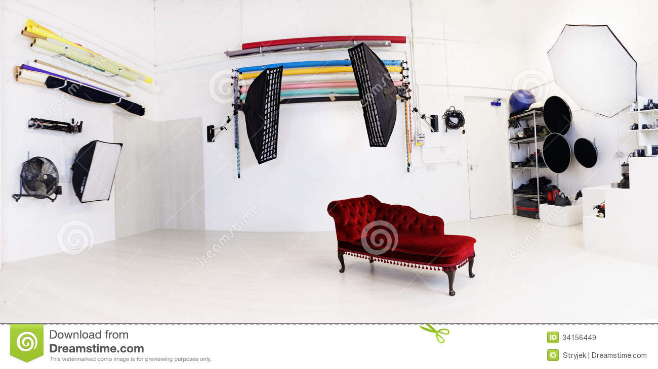 Interior of a photographic studio royalty free stock for Interior decoration equipment