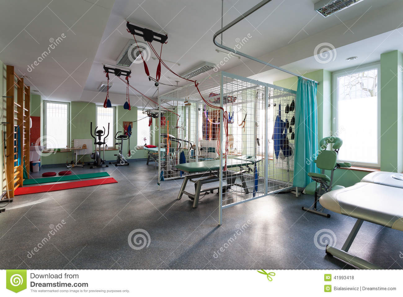 Interior of physiotherapy clinic stock photo image of for Interior decoration equipment
