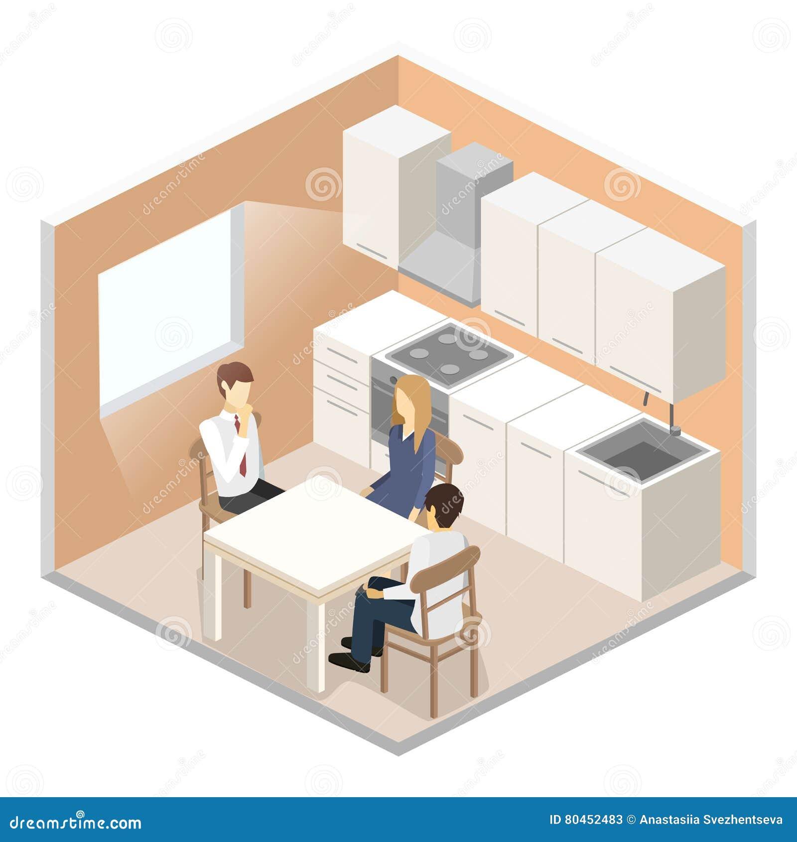 Interior Plano Isom Trico 3d De La Cocina Moderna Stock De