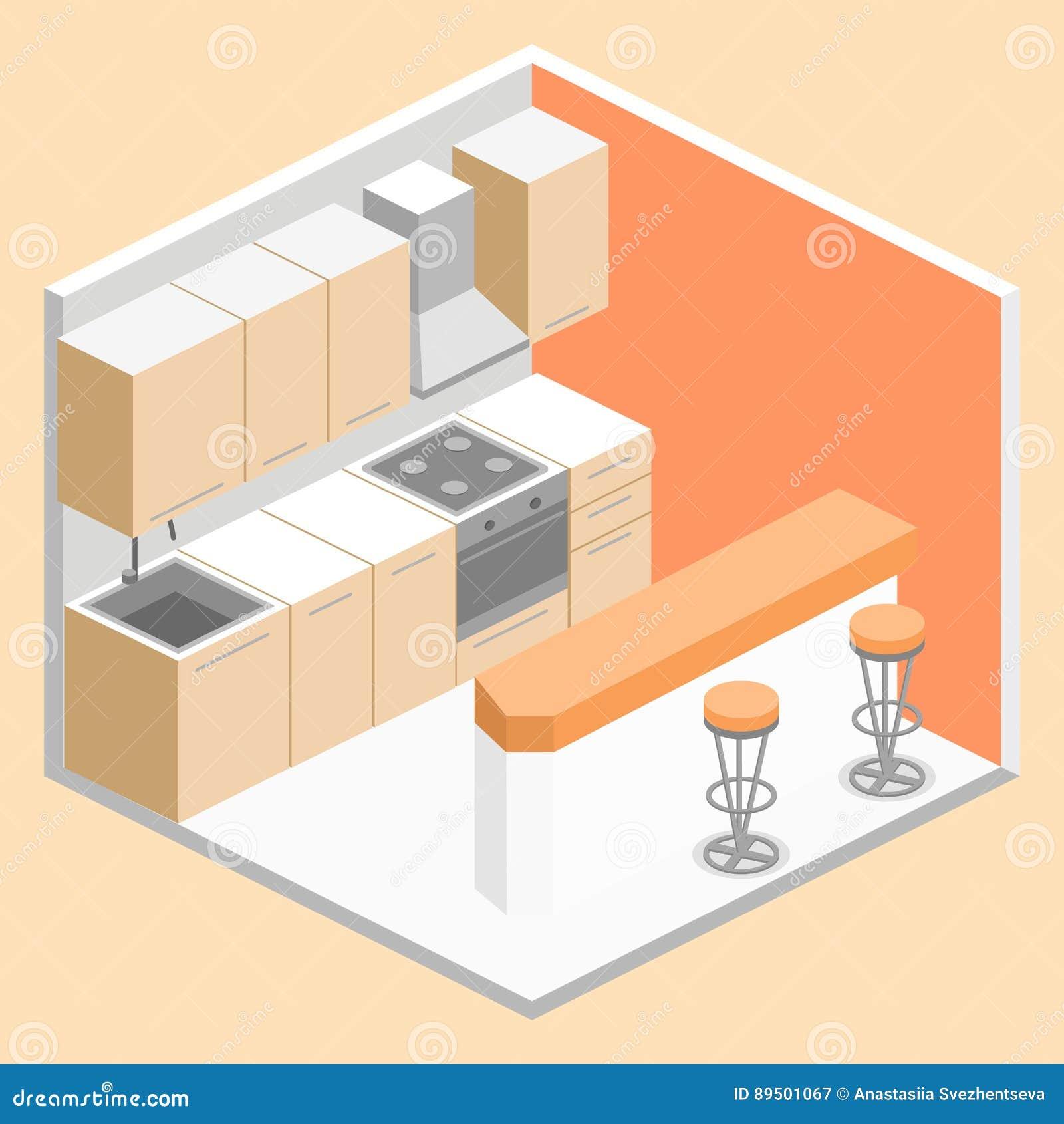 Interior Plano Isométrico 3D De La Cocina Moderna Stock de ...
