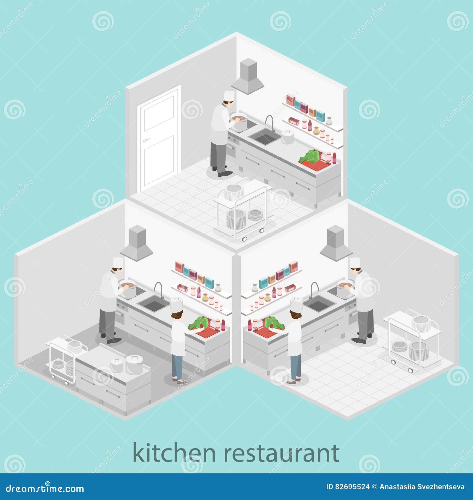 Interior Plano Isométrico 3d De La Cocina Profesional Del Restaurante Stock De Ilustración Ilustración De Muebles Adentro 82695524