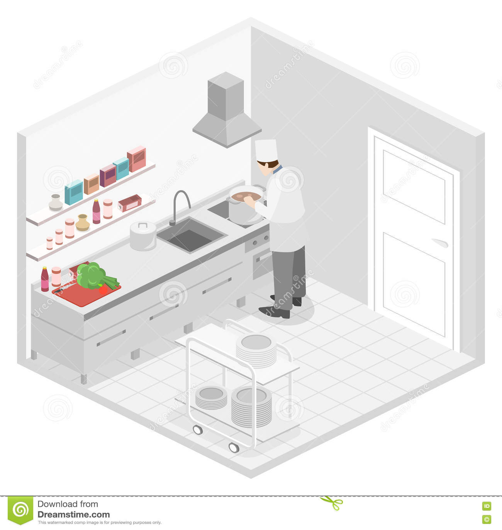 Interior plano isom trico 3d de la cocina restourant for Plano de cocina profesional