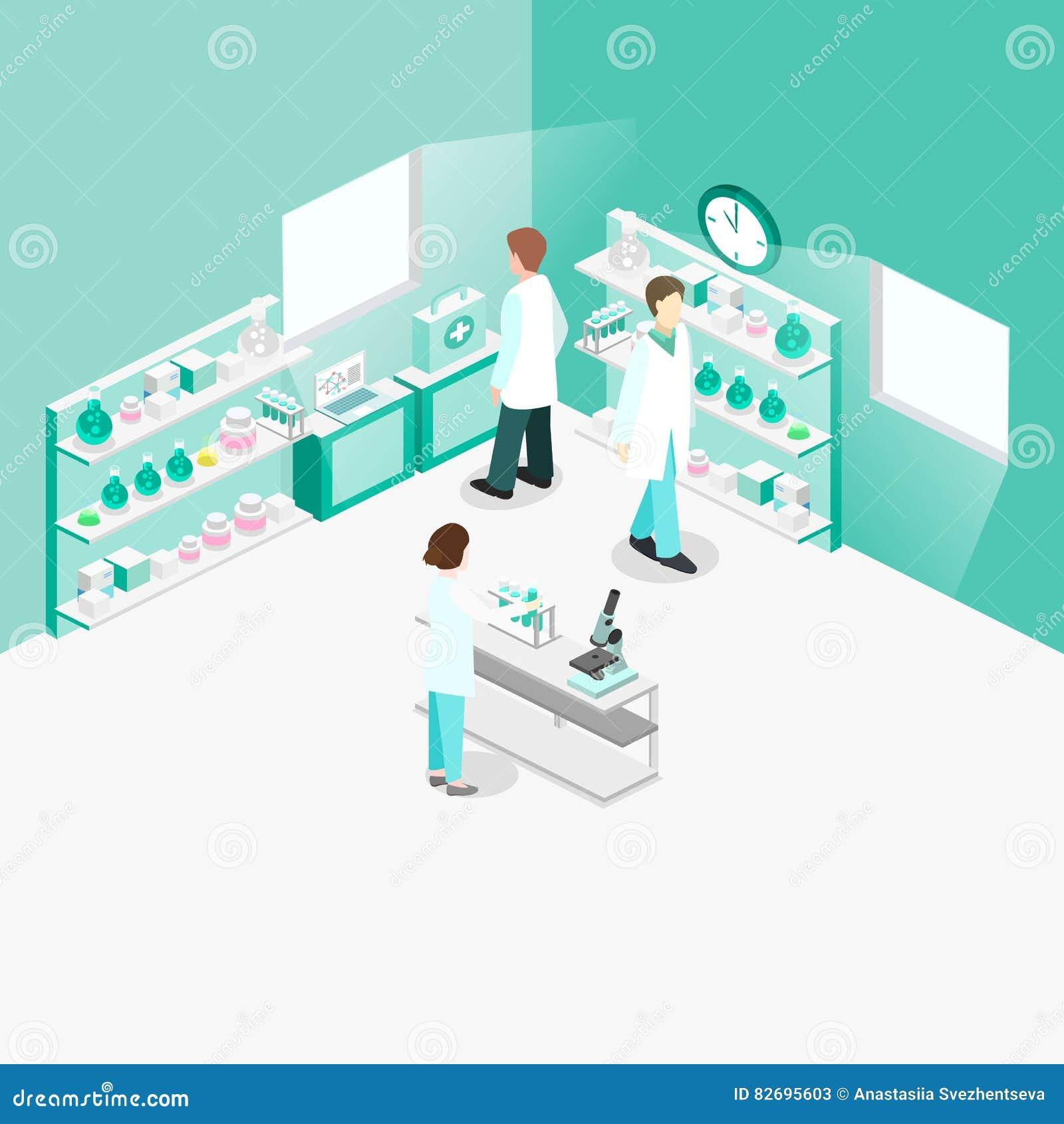 Interior plano isométrico del concepto 3D del laboratorio de ciencia