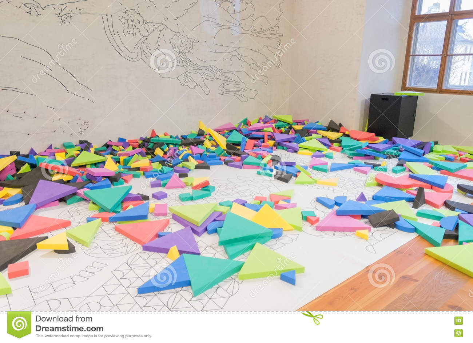 Interior playground play room children kindergarten colorful block