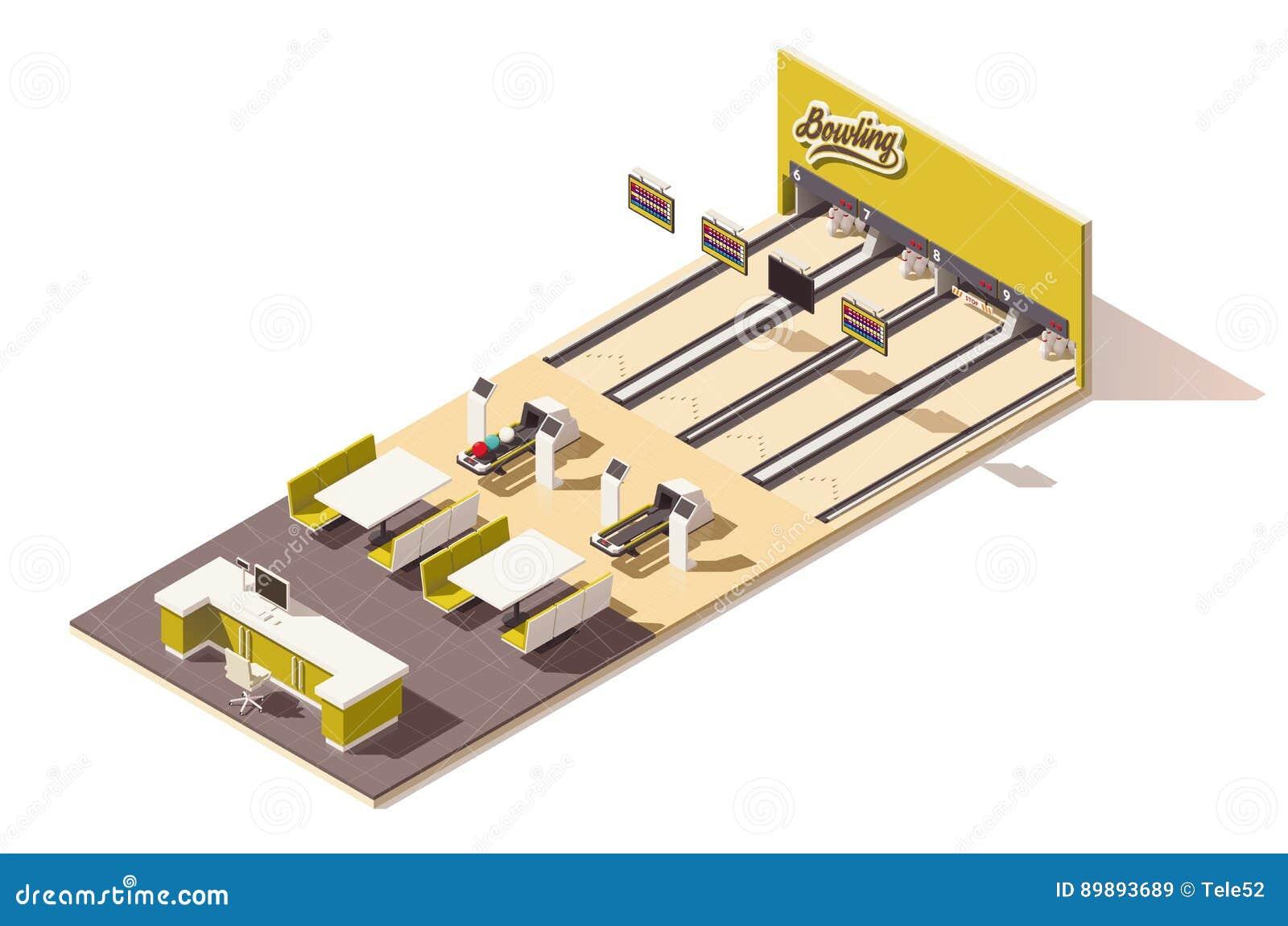 Interior poli isométrico da pista de boliches do vetor baixo
