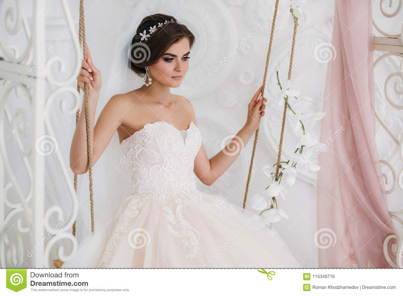 Interior Portrait Of Gorgeous Rbide In White Wedding Dress