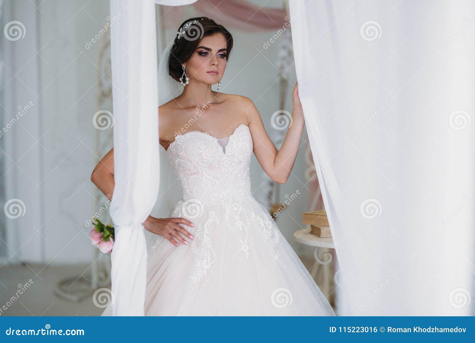 Interior Portrait Of Gorgeous Rbide In White Wedding Dress