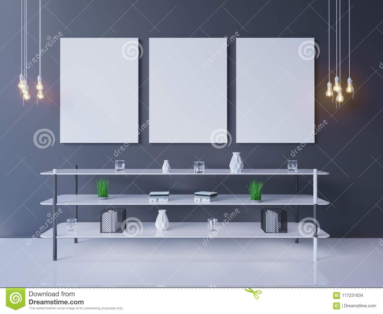 Interior poster mock-up with empty frame and plants in the room. 3D rendering. illustration