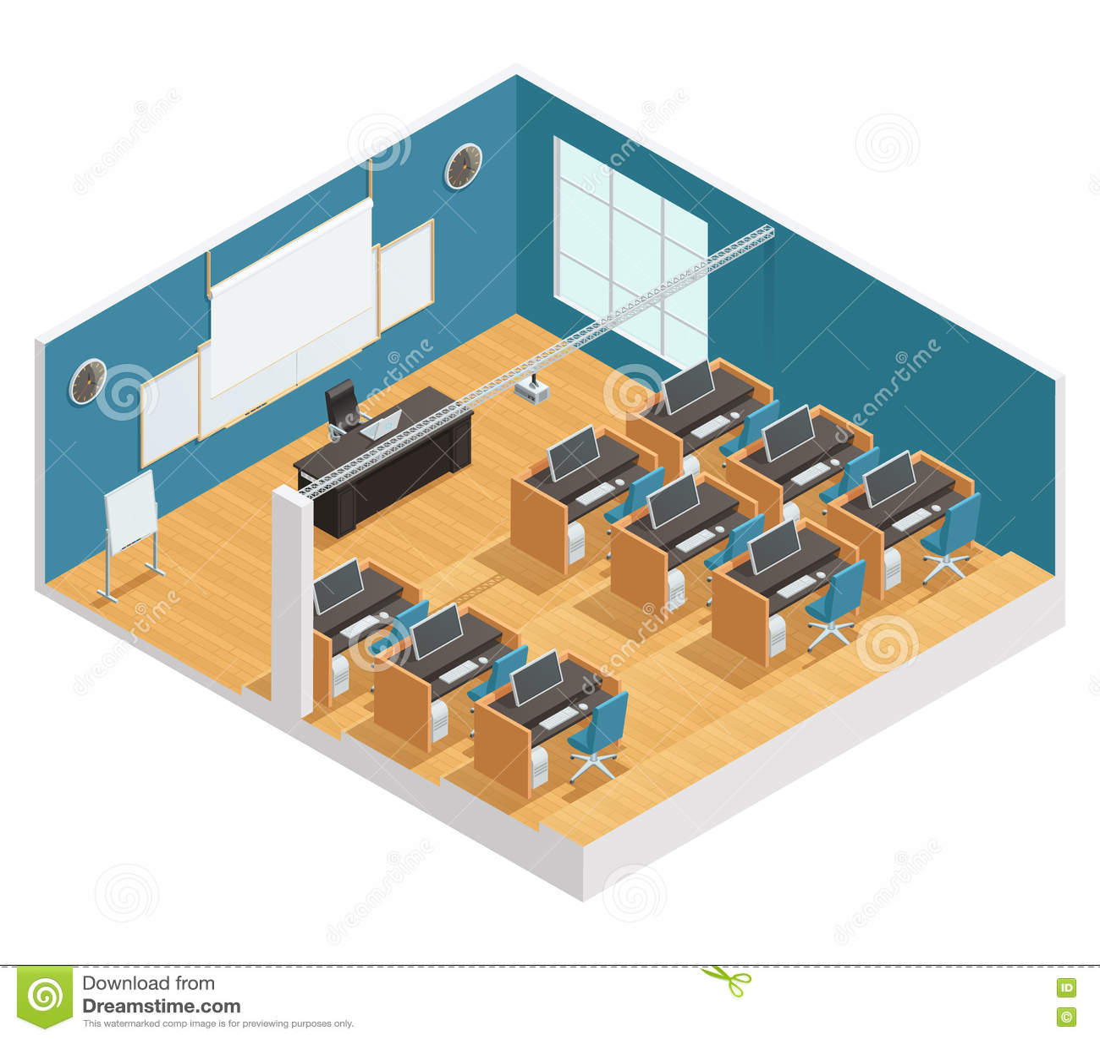 Modern Classroom Board ~ Interior poster of modern classroom stock vector image