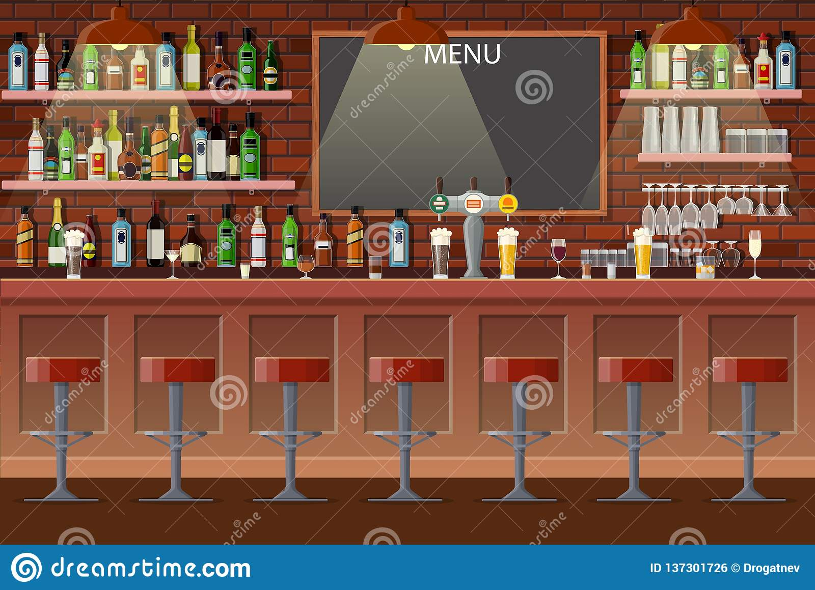 Interior Of Pub, Cafe Or Bar  Stock Vector - Illustration of dart