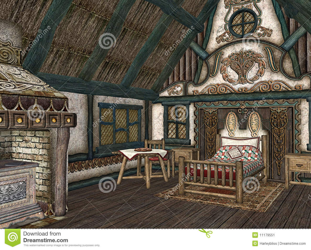 Interior Of Quaint Cottage Stock Illustration Image Of
