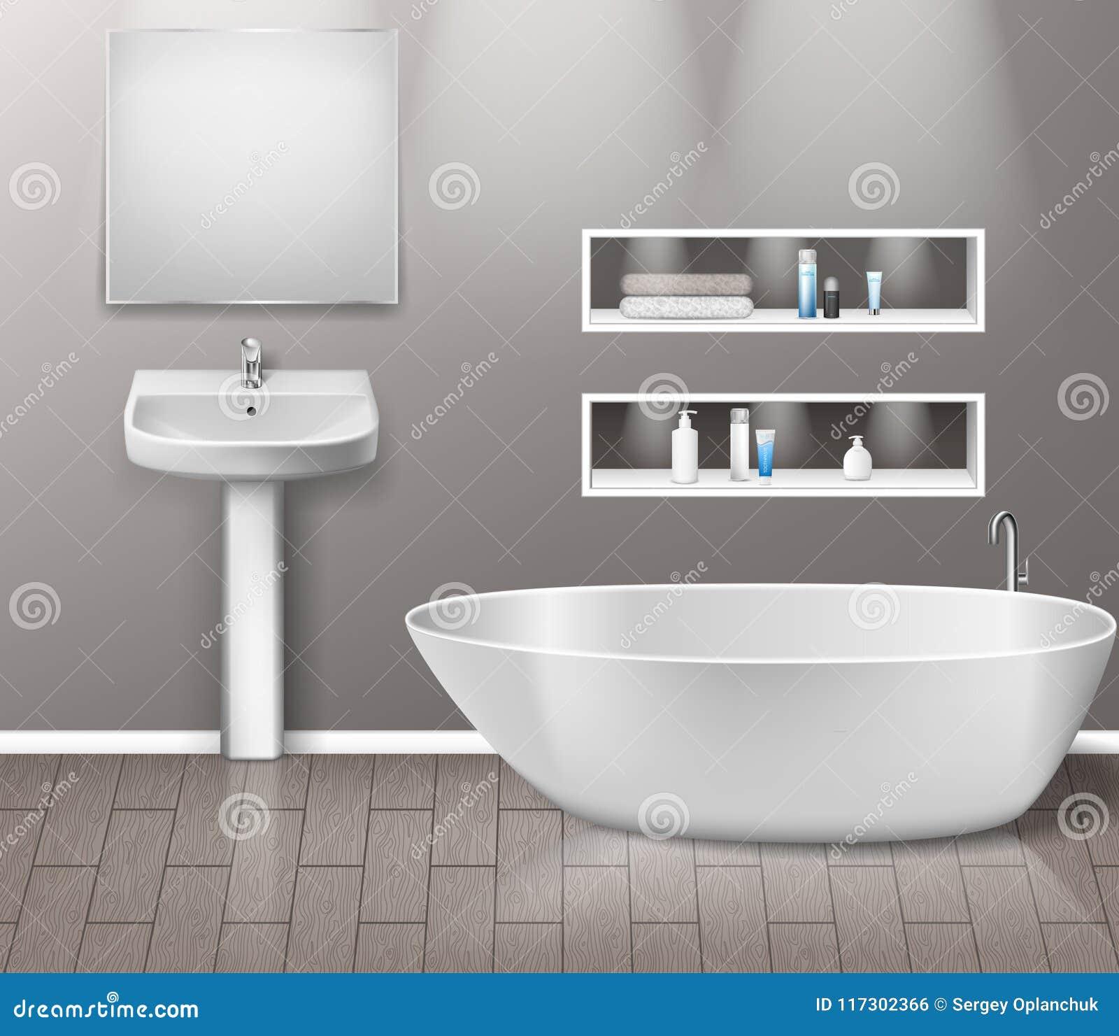 Interior Realista De Los Muebles Del Cuarto De Baño Con Los ...