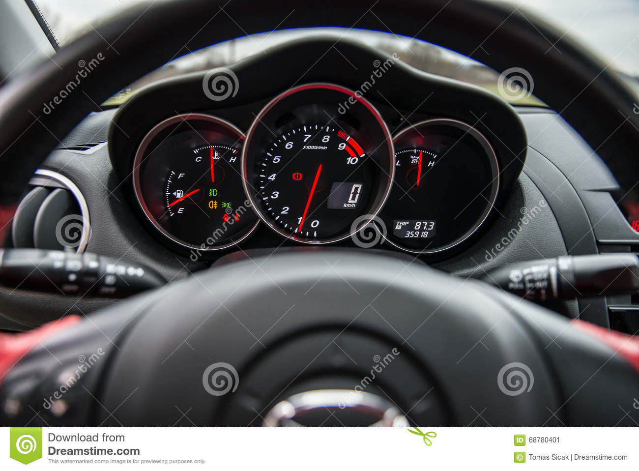 Interior Of Red Sport Car Mazda RX-8 In Nature. Stock Image - Image ...