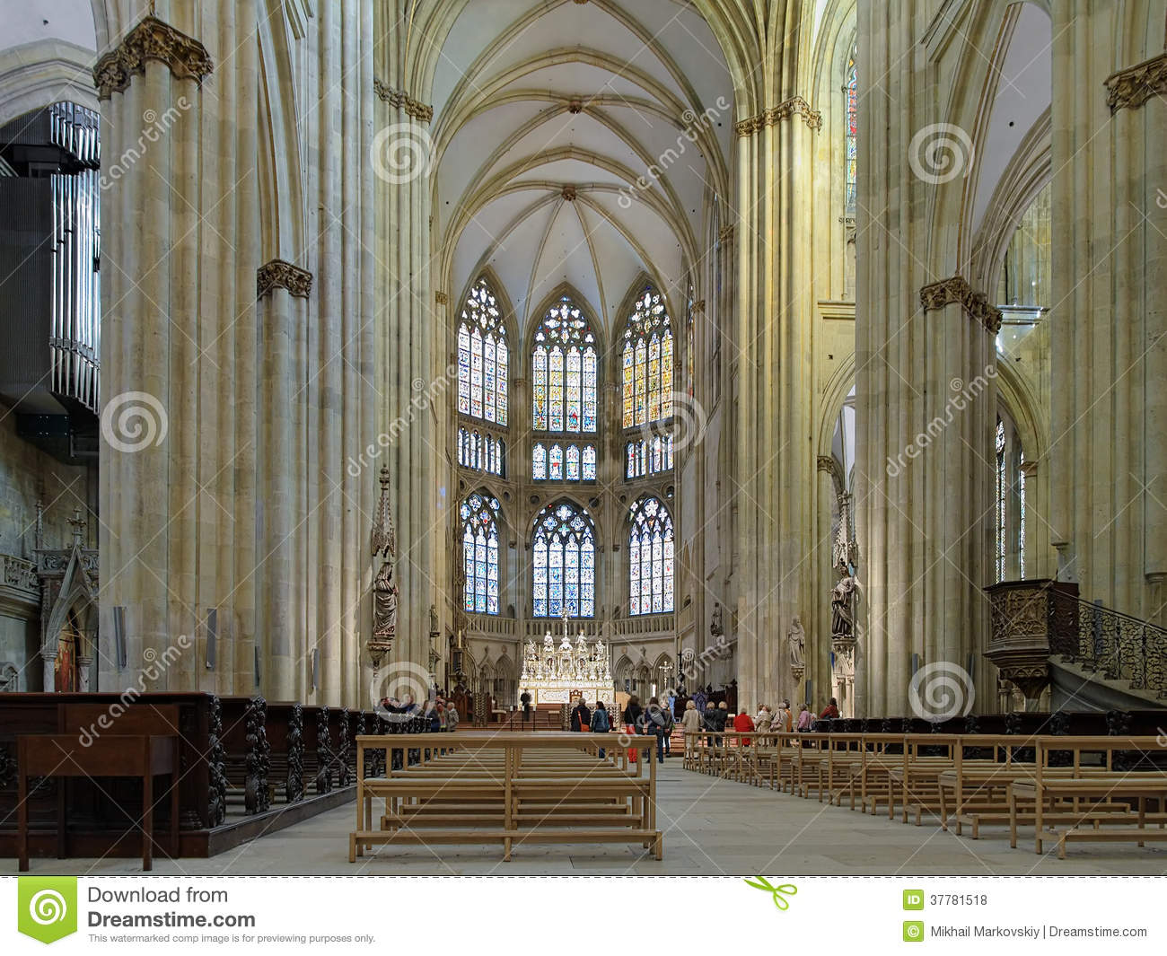 Interior Of Regensburg Cathedral Stock Photo Image Of