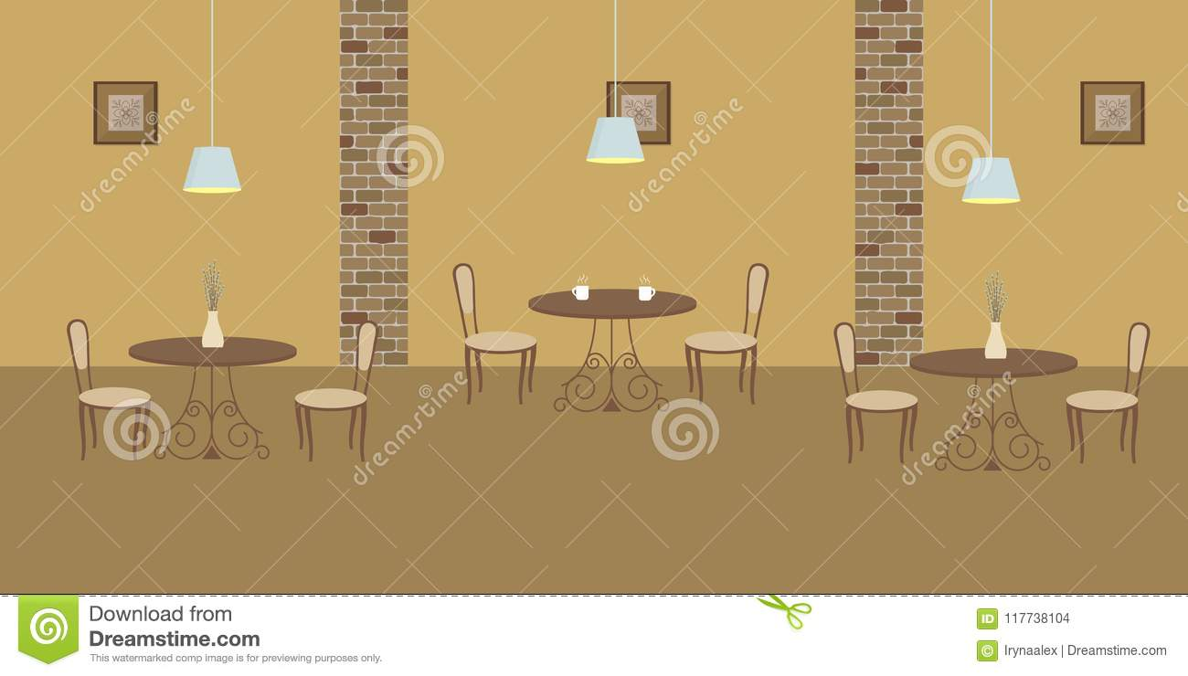 Interior Of Restaurant In A Beige Colors Stock Vector - Illustration ...