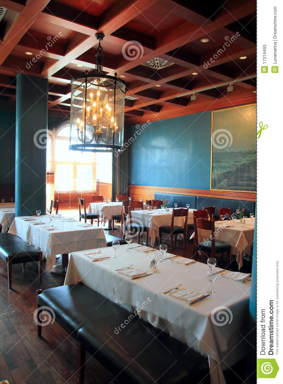 Interior Restaurant Decoration Warm Wood Ceiling Stock Image - Image ...