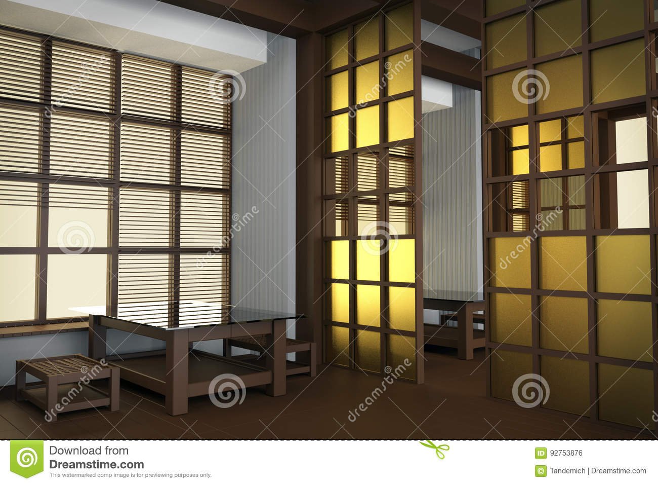Interior of the restaurant in japanese style rice paper for Japanese style windows