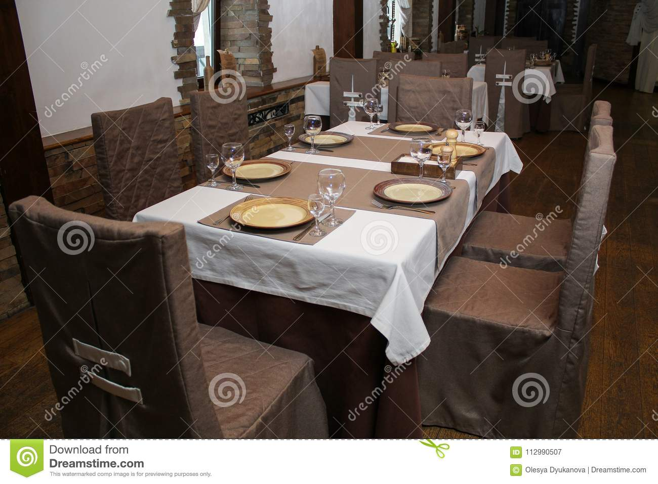 Interior of the restaurant is ready for the arrival of visitors