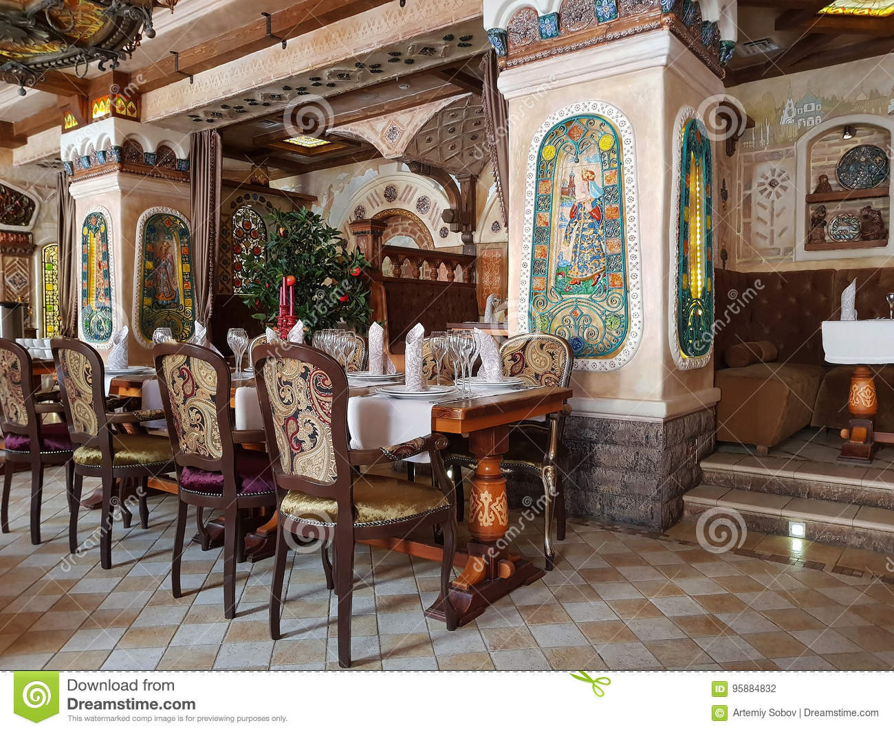 The interior of restaurant is in russian style stock