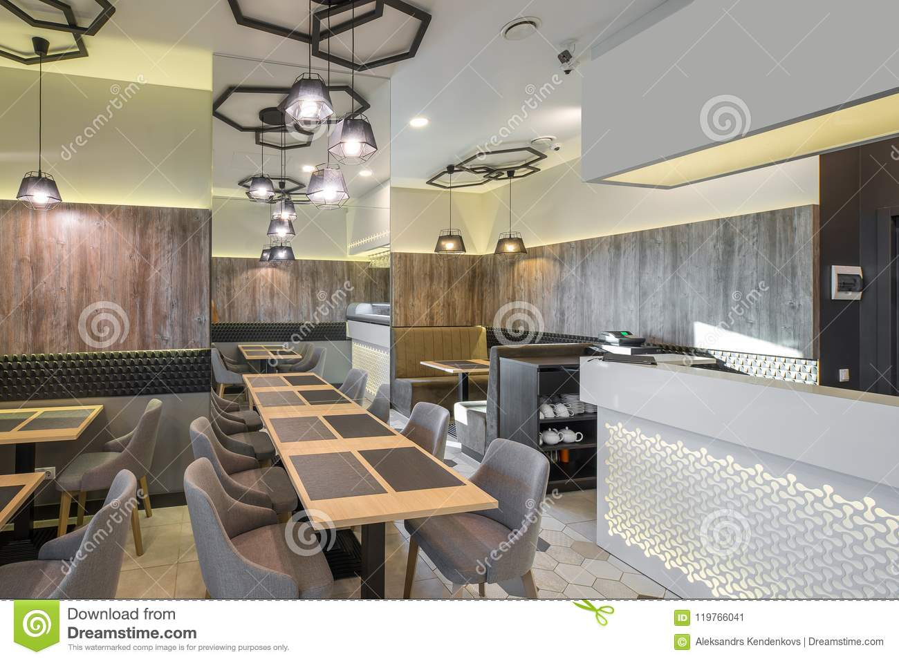 Interior Of Restaurant Wooden Design Modern Style Stock Image Image Of Brown Style 119766041