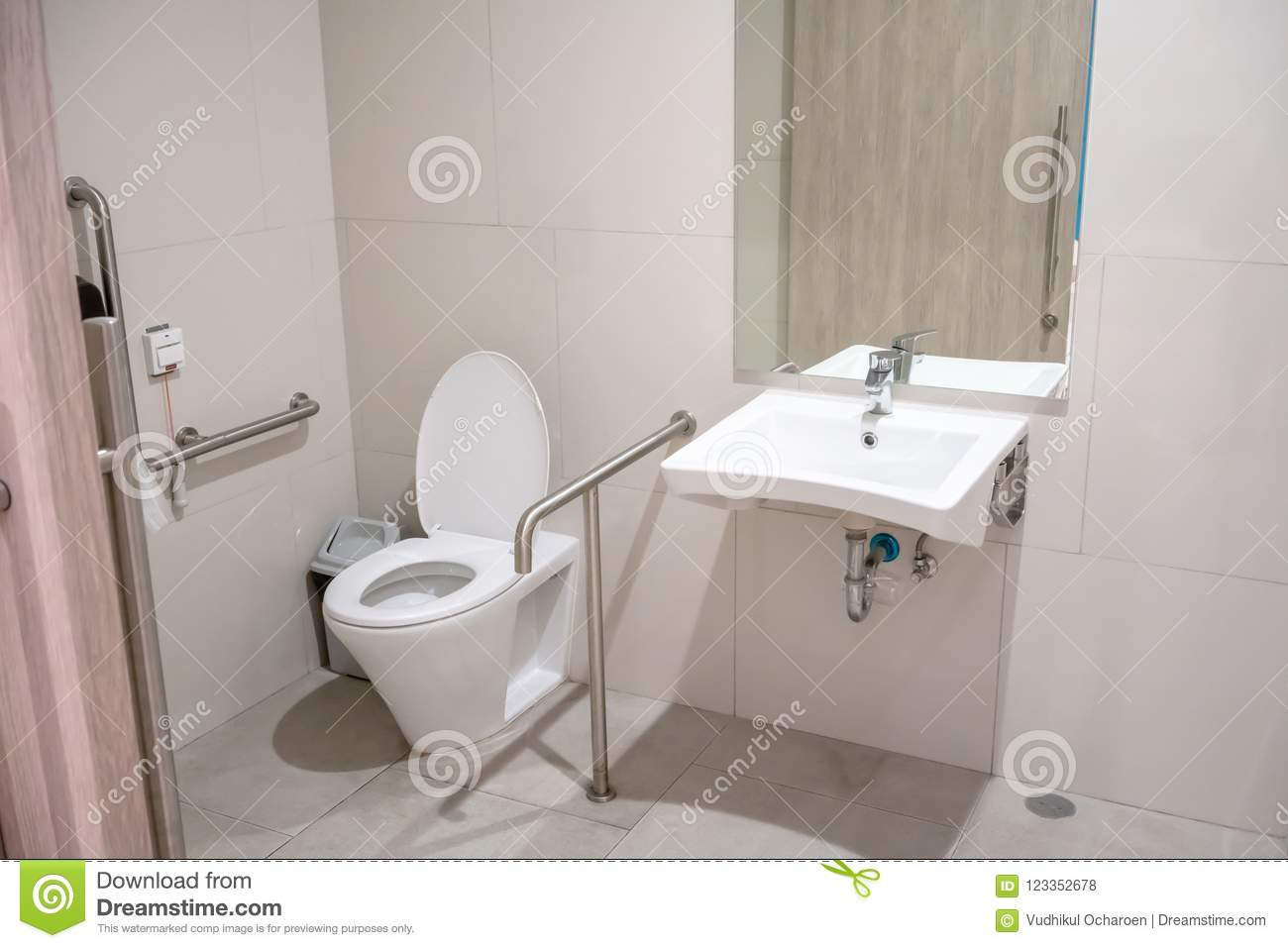 Interior Of Restroom For Elderly People With Lavatory Toilet Bow ...
