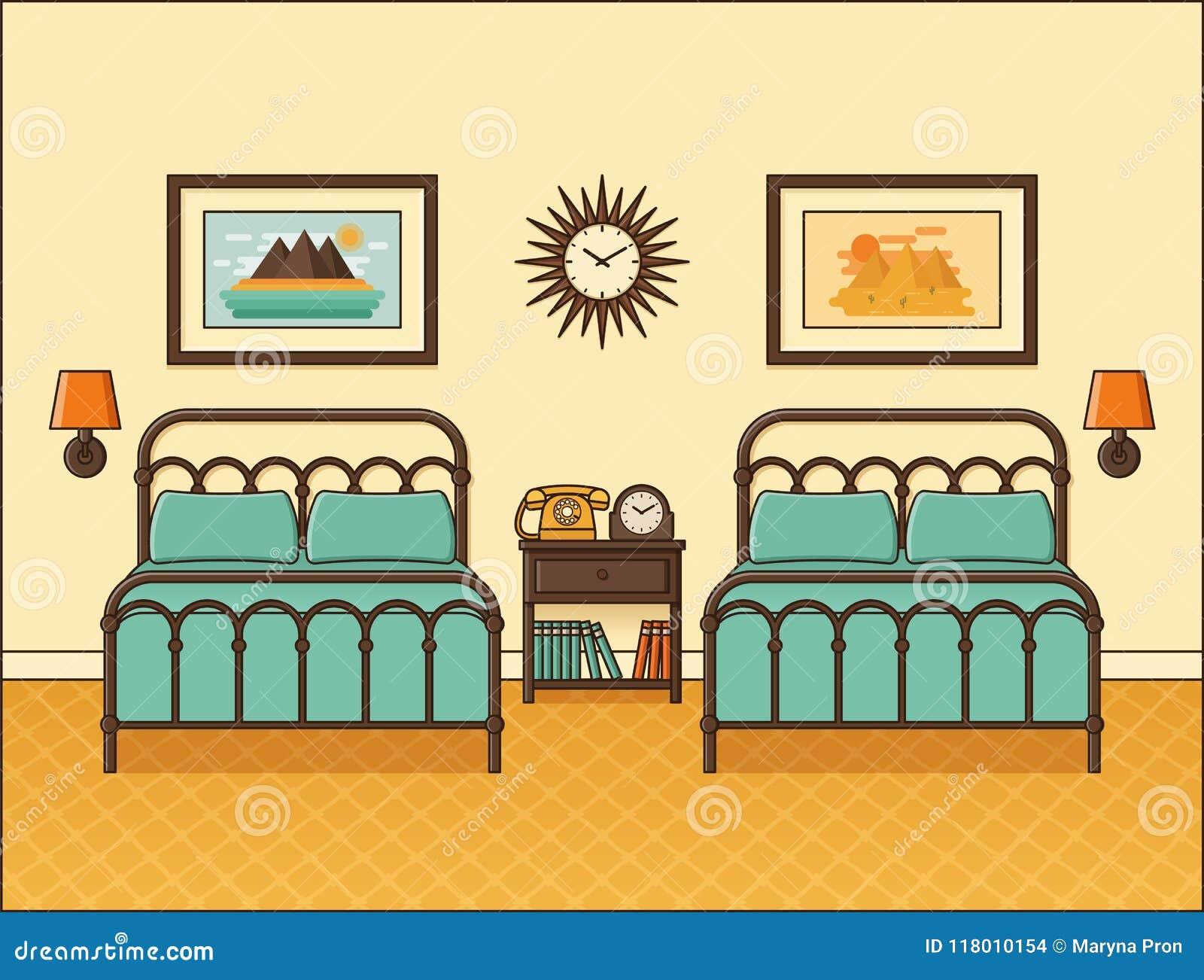 Interior Retro Del Dormitorio Habitacion En Diseno Plano Vector - Habitacion-retro