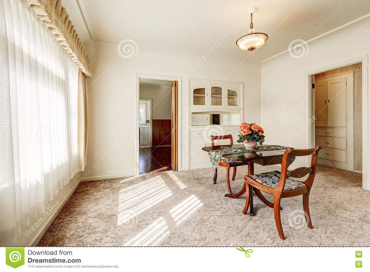 Interior Of Retro Style Dining Room With Carpet Floor And Wooden Table Set For Two Person Northwest USA
