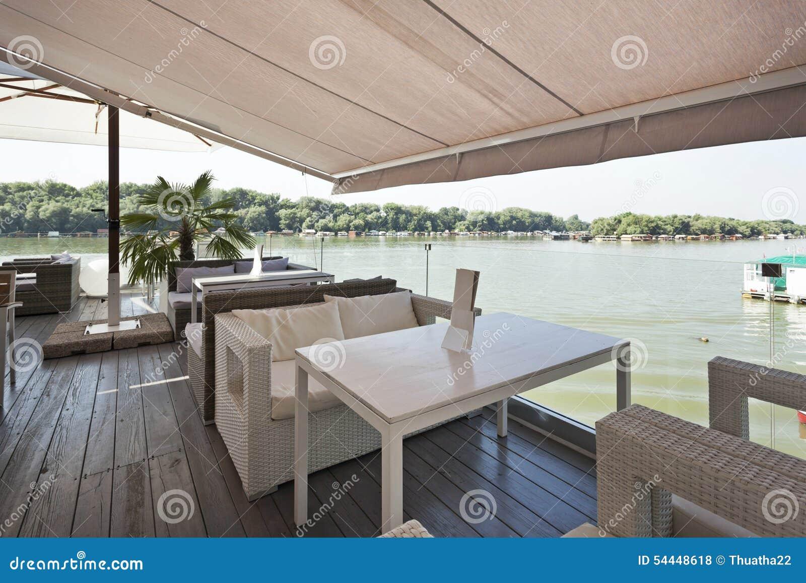 Interior of a riverside cafe