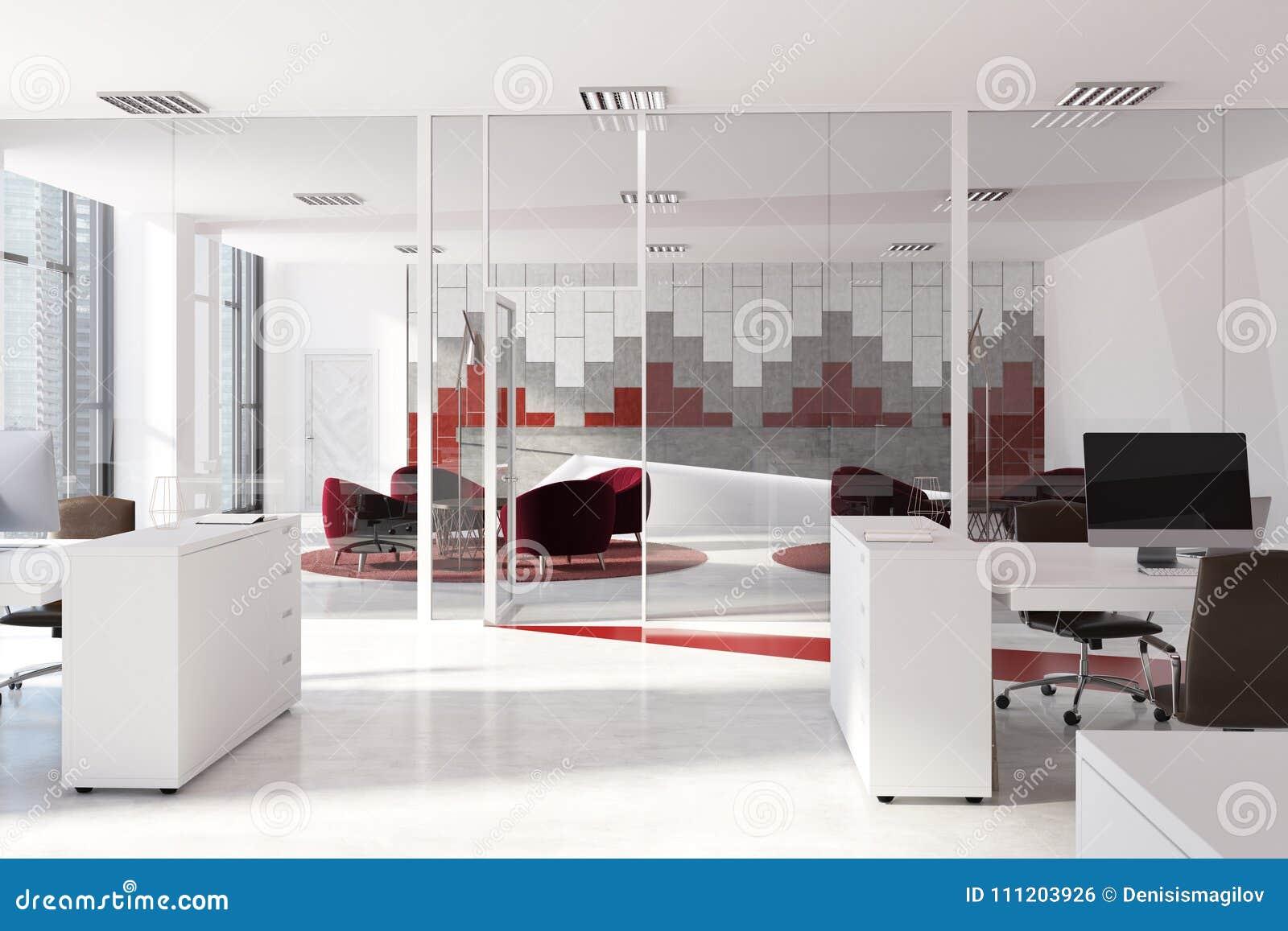 Interior Rojo Y Gris De La Oficina Del Modelo Stock De