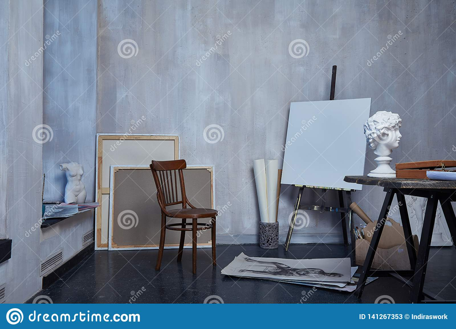 Interior Room Art Workshop Artist Painting Drawing Sculpture Sculptor Canvas Or Museum Paint Studio Editorial Stock Photo Image Of Workshop Drawing 141267353