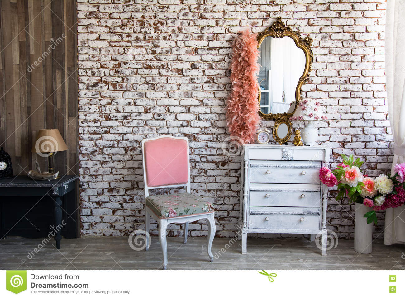Interior Room With A Brick Wall Stock Image Image Of Frame