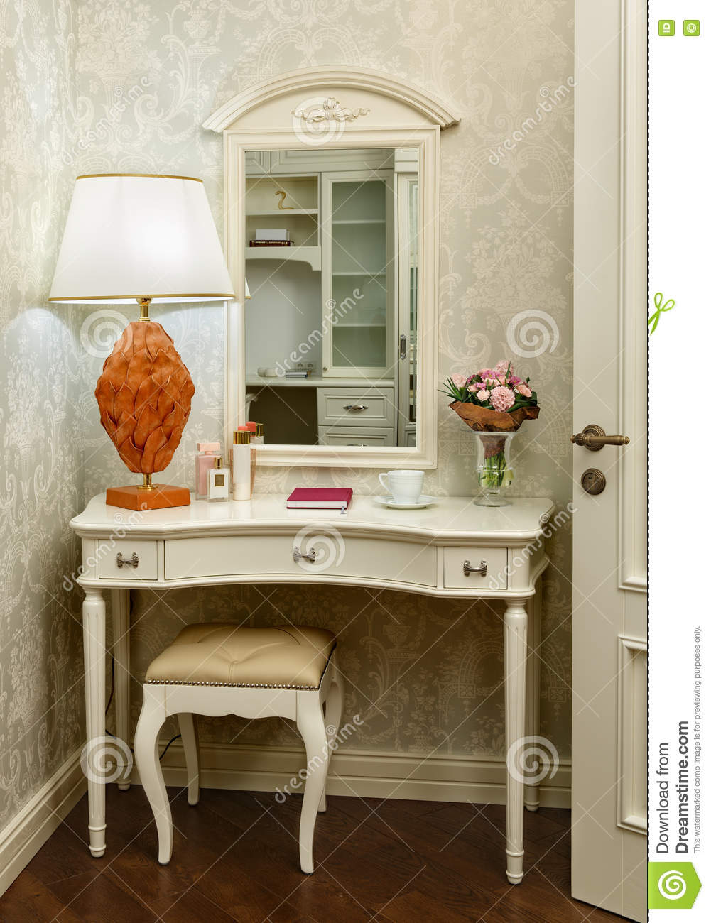 Download Interior Room With Dressing Table, Stool And Table Lamp Stock  Photo   Image Of
